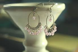 crystal chandelier pink gypsy crystal hoop earrings in sterling silver and sparkly faceted pink crystal