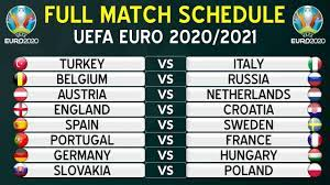 UEFA EURO 2020/2021 FULL SCHEDULE - GROUP STAGE FIXTURES - YouTube