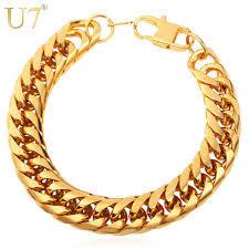 Necklace Thickness Chart Us 6 98 50 Off U7 Big Stainless Steel Bracelet Men Jewelry Wholesale Gold Color 21cm 13 Mm Thick Cuban Link Chain Mens Bracelets H772 In Chain
