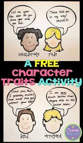 character traits anchor chart activity freebie included 3rd grade character traits activities character trait and student learning