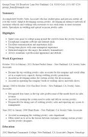 Resume Templates: Jewelry Sales Associate