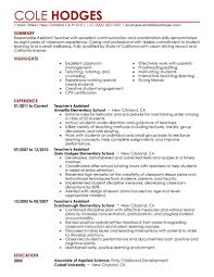 Teaching Assistant Resume Examples Of Teacher Assistant Resumes
