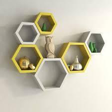 shelf set of 6 hexagon wall shelves for storage display decornation
