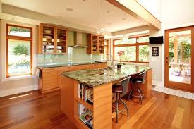 warm wood and granite countertops