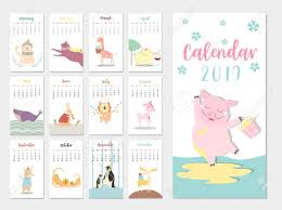 The Year Calendar Cute Animal Calendar 2019 Design The Year Of The Pig Monthly