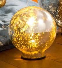 Mercury Glass Globes With Lights Large Lighted Mercury Glass Globe 12 Dia Walmart Com