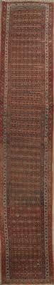 pre 1900 vegetable dye bidjar persian hand knotted 3x16 wool runner rug