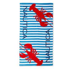 Beach towels Large Lobster Striped Beach Towelice Bluelarge Nautica Lobster Striped Beach Towel Nautica