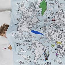 doodle world map single bedding 100 cotton