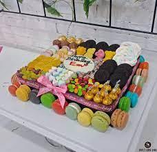 Bánh kem sinh nhật hình mâm bánh kẹo ngọt nhiều màu sắc rực rỡ - Bánh Thiên  Thần : Chuyên nhận đặt bánh sinh nhật theo mẫu