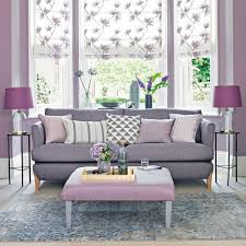 Ideal Home Living Room Lilac Living Room With Grey Toned Sofa And Floral Blinds Ideal Home