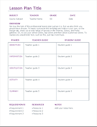 lesson plan template word doc lesson plan office templates