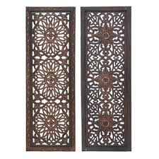 panel wood wall d cor set set of 2  on carved medallion wall art panels set of 4 with wall decor birch lane