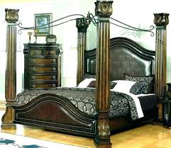 Full Size Poster Bed Frame King 4 Four Wood Canopy Vintage Maple ...