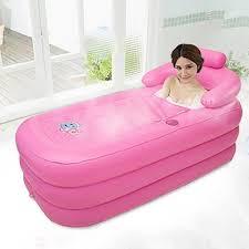 trendy 4 pcs large inflatable bathtub bath barrel insulation winter household folding shower bucket thickening bathtub with inflatable cushion repair