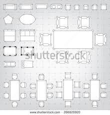 furniture for floor plans. set of simple 2d flat vector icons furniture for floor plan outline on blueprint technical grid plans s