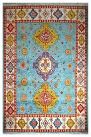 hand knotted wool rug with blue color rugs from india