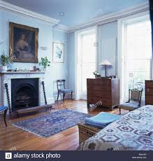 Pale Blue Bedroom Large Picture Above Marble Fireplace In Pale Blue Bedroom With