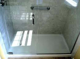 image of fiberglass shower stalls should go shower door installed on prefab shower esensehowtocom how