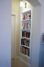 niche into a built in bookcase
