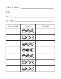 Behavior Smiley Chart Smiley Face Behavior Chart Behaviour Chart Behavior Smiley