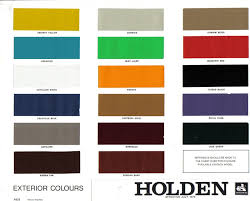 1976 Holden Paint Charts And Color Codes