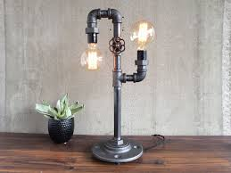 industrial pipe lighting. custom made industrial edison bulb light iron pipe table lamp lighting