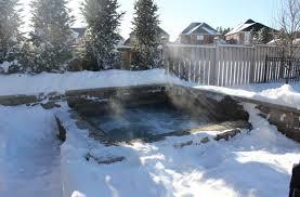 built in hot tub snow