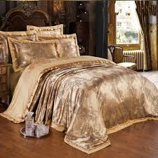 gold jacquard silk comforter duvet cover king queen 4pcs luxury with size design 7