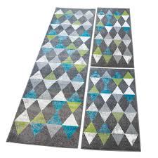 Carpet Bettumrandung Flachflor Mit Mosaik Muster In Grau Türkis Grün
