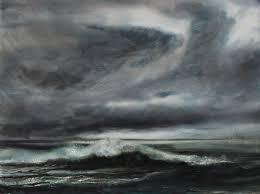 sea and dark clouds 21x29ins wc jpg 3625