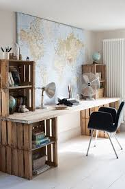 rustic office design. upcycled desk idea for shared home office space by urban village design rustic
