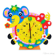 Children Education Cartoons Children Diy Eva Cartoon Clock Toy Creative 3d Animal Handcraft