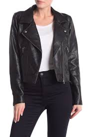 blanknyc denim faux leather moto jacket with removable denim trim