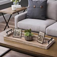 wooden decorative tray with metal