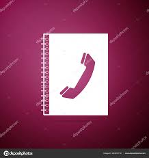 Address Telephone Book Phone Book Icon Isolated On Purple Background Address Book