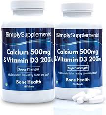 Calcium <b>500mg</b> with Vitamin D3 200iu | <b>Strong Bones</b> & Healthy ...