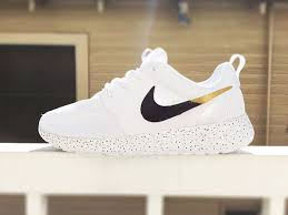 nike shoes white and gold. custom nike roshe run sneakers for women, all white, black and gold, silver, specles, gold flakes, love, fashionable design listing stats | pinterest shoes white g
