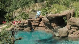 Pool Designs With Rock Slides Tropical Backyard Pool Spa Ideas