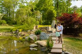michael and di pose on the stone bridge at brookside gardens in silver spring near washington