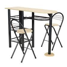 Kitchen - Ensemble Table Haute + 2 chaises Marron et Noir