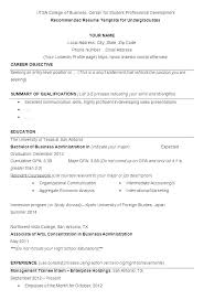 Resume Template For Letter Of Recommendation Free Student Resume Template College Sample Scholarship For