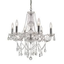 trans globe lighting versailles polished chrome six light crystal chandelier with cut crystal bead strands