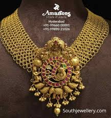 Broad Chain Designs Broad Gold Links Necklace With Ruby Polki Pendant Indian