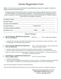 Vendor Registration Form Template Luxury New Event Application Word