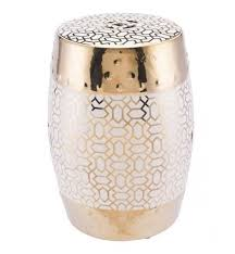 ceramic garden seat. laberint metallic gold/white ceramic garden seat