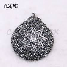 big natural round shell pendant pave rhinestone with zircon star shell pendant jewelry making for necklace