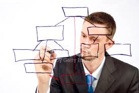 Sketch Org Chart Man Drawing An Organization Chart On A Glass Board Stock