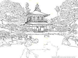 銀閣寺の下絵世界遺産のぬりえ日本