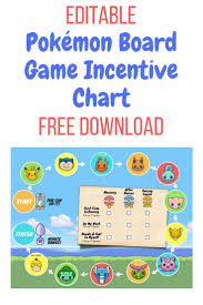 Pokemon Behaviour Chart Pokemon Game Incentive Chart Printable Reward Charts